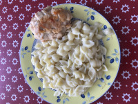 Куриный тар-тар с макаронами